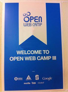 [Photo: OpenWebCamp III Banner]