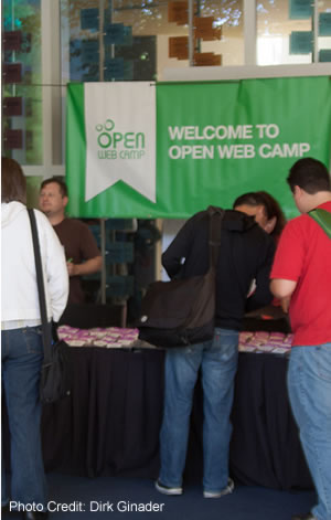 [Photo: OpenWebCamp IV Registration Table at PayPal]